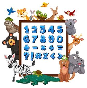 Cyfra od 0 do 9 i symbole matematyczne na banerze z dzikimi zwierzętami