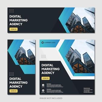 Cyfrowa agencja marketingowa instagram post banner szablon nowoczesne tło