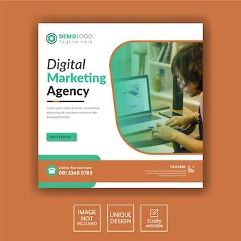 Cyfrowa agencja marketingowa na instagramie lub kwadratowy szablon banera internetowego
