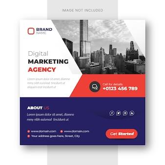 Cyfrowa agencja marketingu post na instagramie i szablon banera w mediach społecznościowych