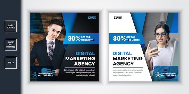 Cyfrowa Agencja Marketingu Społecznościowego Post I Banner Internetowy Premium Wektorów