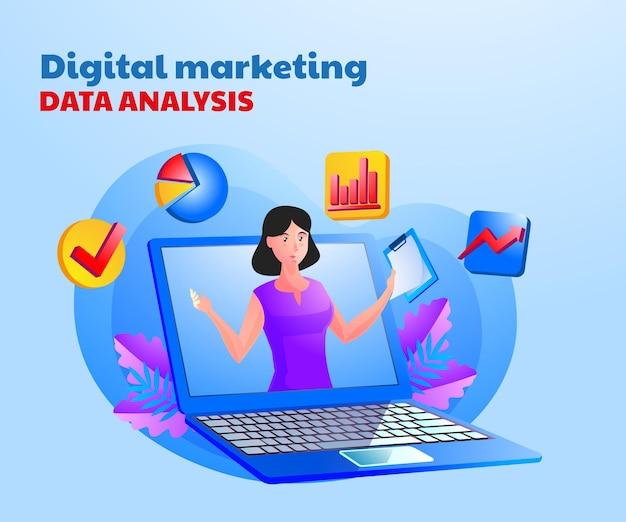 Cyfrowa analiza danych marketingowych z kobietą i symbolem laptopa