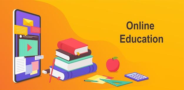 Cyfrowa edukacja online, koncepcja nauczania na odległość na całym świecie z witryny mobilnej. edukacyjne webinarium na smartfony, książki i poradniki do nauki, materiały dydaktyczne.