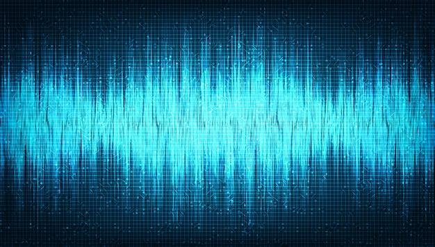 Cyfrowa fala dźwiękowa o niskiej i wysokiej skali bogatszej na jasnoniebieskim tle