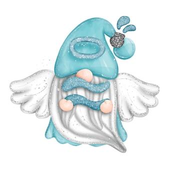 Cyfrowa farba akwarela gnome wodnik znak zodiaku na białym tle śliczny gnom z wi