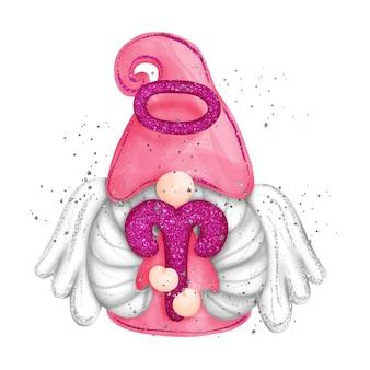 Cyfrowa farba akwarela znak zodiaku gnome baran na białym tle śliczny gnom ze skrzydłami