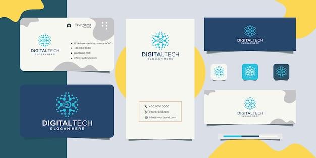 Cyfrowa firma biznesowa litera d i projekt wizytówki