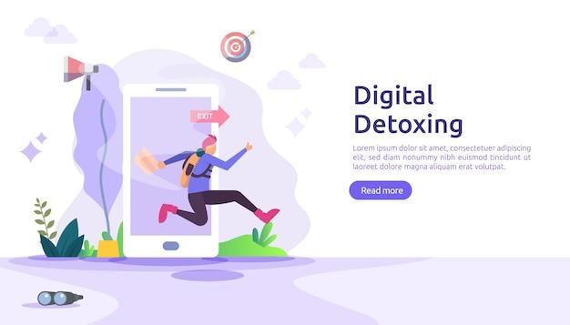 Cyfrowa ilustracja koncepcja stylu życia detox