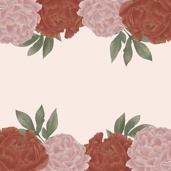 Cyfrowa ilustracja vintage akwarela, układ ramki różane piwonie dla karty z pozdrowieniami.