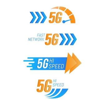 Cyfrowa kolekcja logo technologii 5g piątej generacji