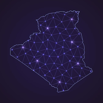 Cyfrowa mapa sieci algierii. abstrakcyjna linia łącząca i kropka na ciemnym tle