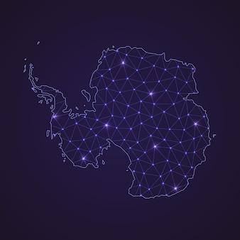 Cyfrowa mapa sieci antarktydy. abstrakcyjna linia łącząca i kropka na ciemnym tle