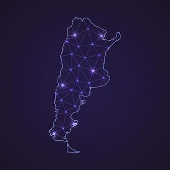 Cyfrowa mapa sieci argentyny. abstrakcyjna linia łącząca i kropka