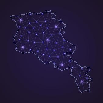 Cyfrowa mapa sieci armenii. abstrakcyjna linia łącząca i kropka na ciemnym tle