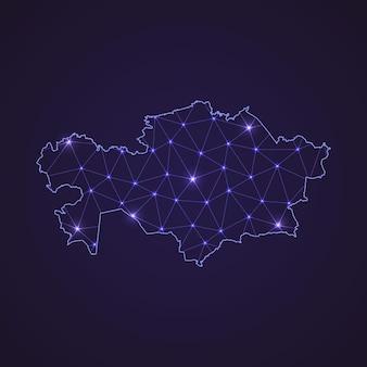 Cyfrowa mapa sieci kazachstanu. abstrakcyjna linia łącząca i kropka na ciemnym tle