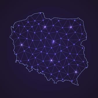 Cyfrowa mapa sieciowa polski. abstrakcyjna linia łącząca i kropka na ciemnym tle