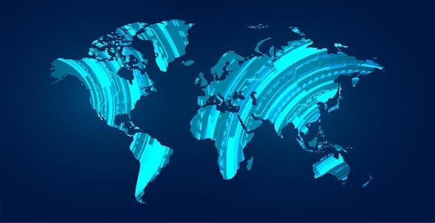 Cyfrowa mapa świata z ilustracją schematu technologicznego