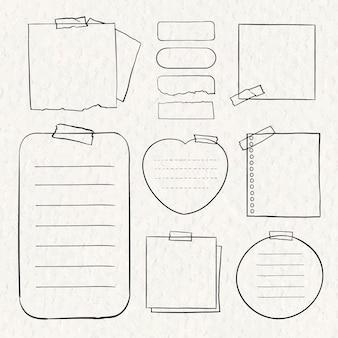 Cyfrowa notatka wektor zestaw w stylu wyciągnąć rękę