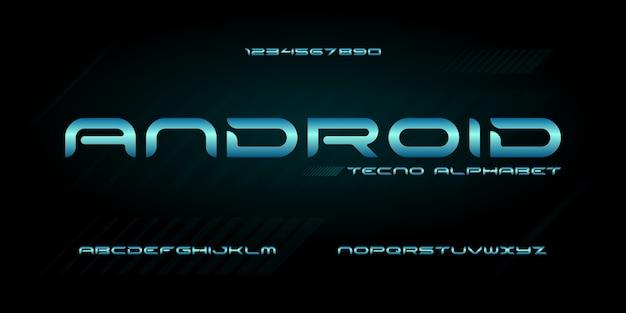 Cyfrowa nowoczesna czcionka alfabetu. typografia czcionki w stylu miejskim dla technologii, technologii cyfrowej, filmu, logo