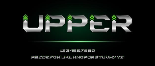 Cyfrowa nowoczesna czcionka alfabetu z szablonem stylu miejskiego