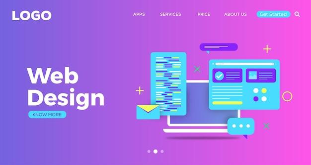 Cyfrowa nowoczesna strona docelowa projektowania stron internetowych