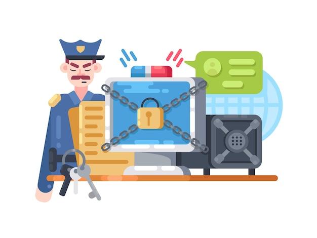 Cyfrowa ochrona i bezpieczeństwo. zamek do przechowywania i osłona. ilustracji wektorowych