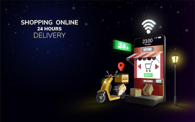 Cyfrowa online globalna dostawa na hulajnoga z telefonem, wisząca ozdoba przy nocy tłem. koncepcja dostawy. ilustracja. kopia przestrzeń.