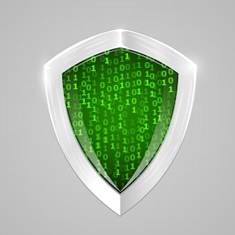 Cyfrowa osłona bezpieczeństwa. bezpieczeństwo w sieci lub znak kryptowaluty.