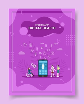 Cyfrowa pielęgniarka zdrowia ludzi wokół pacjenta na szablon ulotki