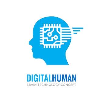 Cyfrowa technologia ludzkiej głowy cyber umysł. cyber mózg logo przyszłość technologii twarzy, sztuczna inteligencja robota.