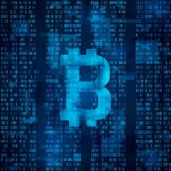 Cyfrowa waluta bitcoin. symbol bitcoina na niebieskim kodzie binarnym.