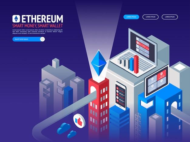 Cyfrowa waluta ethereum. futurystyczne pieniądze cyfrowe. koncepcja sieci światowej technologii izometrycznej.