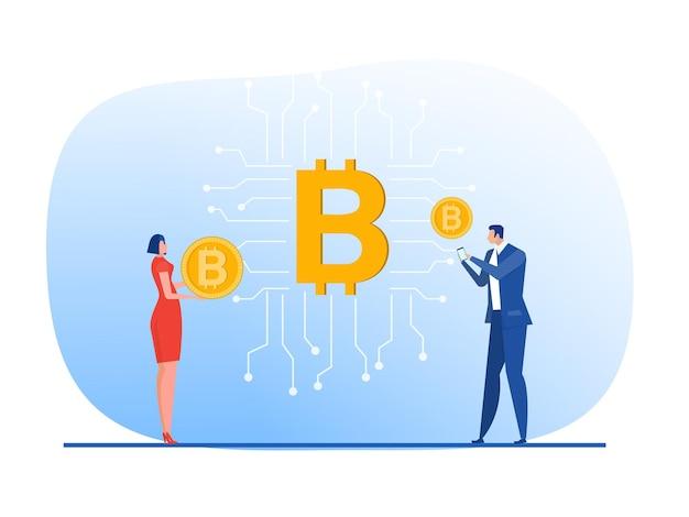 Cyfrowa waluta lub cyfrowa koncepcja biznesowa bitcoin