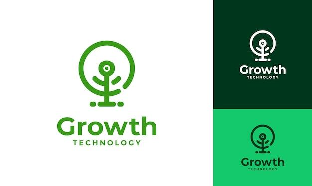 Cyfrowe drzewo logo projektuje wektor koncepcyjny, wektor symbolu drzewa technologicznego wzrostu
