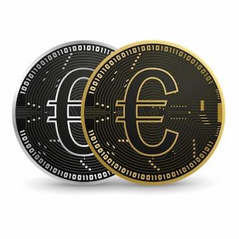 Cyfrowe euro, czarna złota moneta