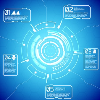 Cyfrowe, futurystyczne, interaktywne infografiki z tekstem i ikonami na niebieskim tle
