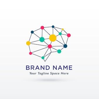 Cyfrowe koncepcji mózgu projekt logo wektora