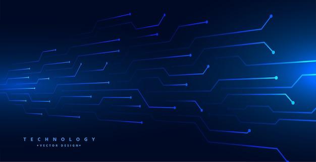 Cyfrowe linie obwodu technologii siatki niebieskie tło projektu