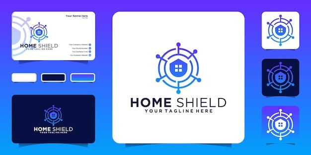 Cyfrowe logo bezpieczeństwa domu i inspiracja wizytówkami