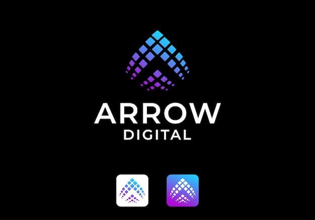 Cyfrowe logo strzałki, przesuń w górę szablon projektu ikony