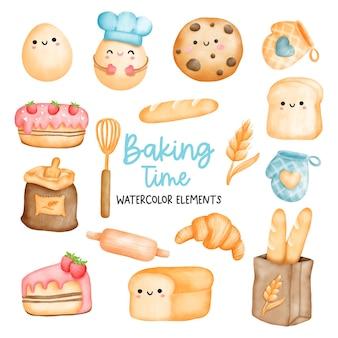 Cyfrowe malowanie elementów akwareli piekarniczych element gotowania