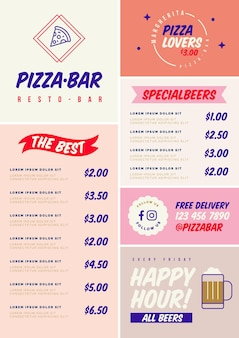Cyfrowe menu dla szablonu restauracji w formacie pionowym