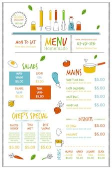 Cyfrowe menu restauracji w formacie pionowym