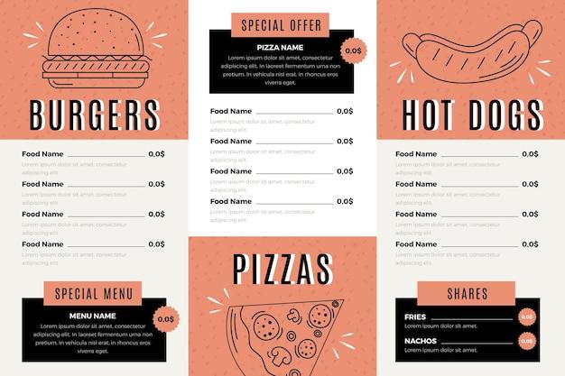 Cyfrowe menu restauracji w formacie poziomym