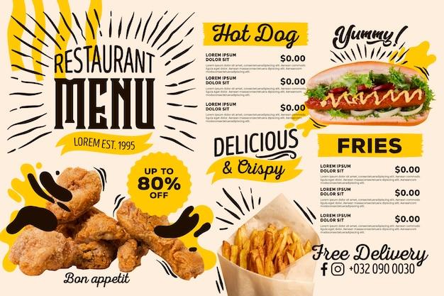 Cyfrowe menu restauracji z ofertą
