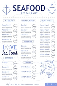 Cyfrowe menu restauracji z owocami morza