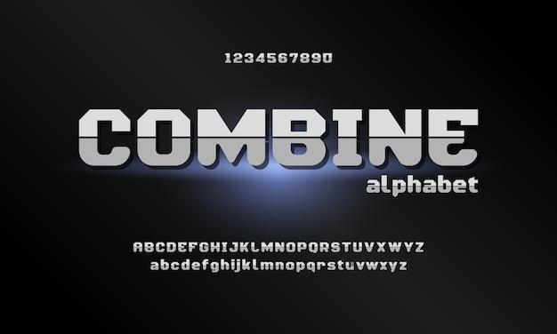 Cyfrowe nowoczesne czcionki alfabetu. abstrakcyjna typografia technologia elektroniczna, sport, muzyka, przyszła kreatywna czcionka