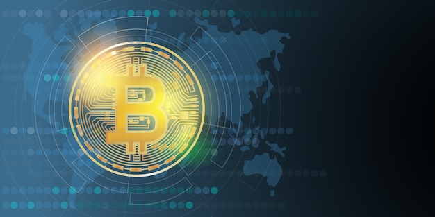 Cyfrowe pieniądze bitcoin, system kryptowaluty i pula górnicza