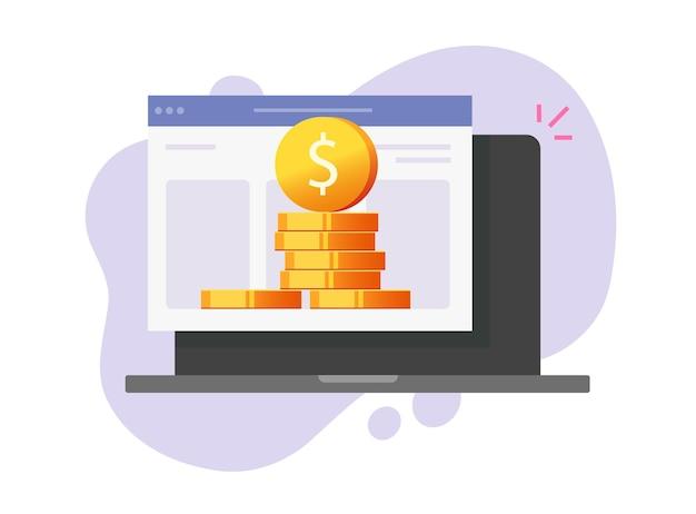 Cyfrowe pieniądze zarabianie pieniędzy w internecie na ikonę laptopa