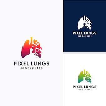 Cyfrowe płuca, koncepcja projektów logo pixel lungs, koncepcja projektu, logo, element logo dla szablonu